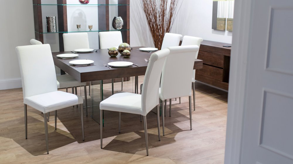 Soft Leather Chairs and Square Wood Veneer Dining Table