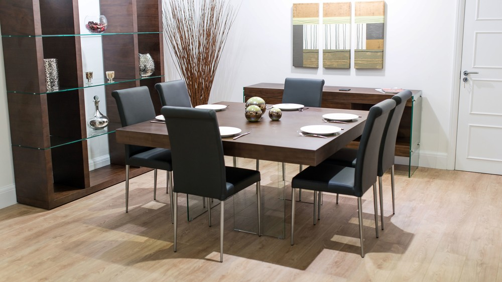 Black Real Leather Dining Chairs and Floating Dining Table