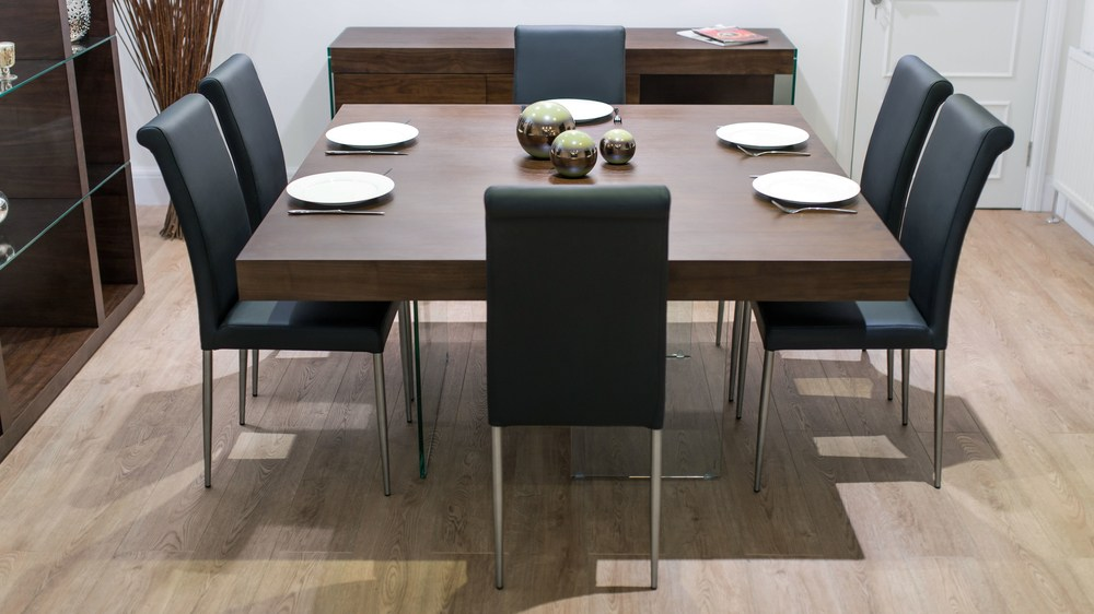 Modern Dark Wood and Black Dining Set