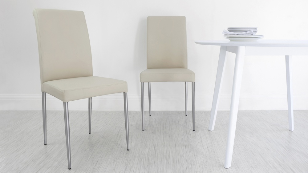 Affordable Cream Real Leather Dining Chairs
