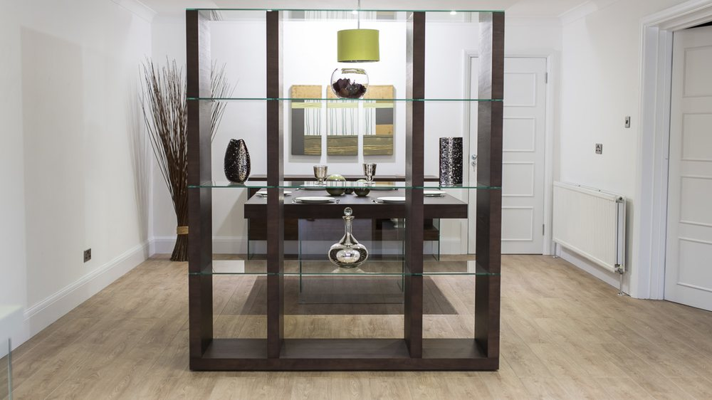 Modern Dark Wood And Glass Shelving Unit Room Divider Uk