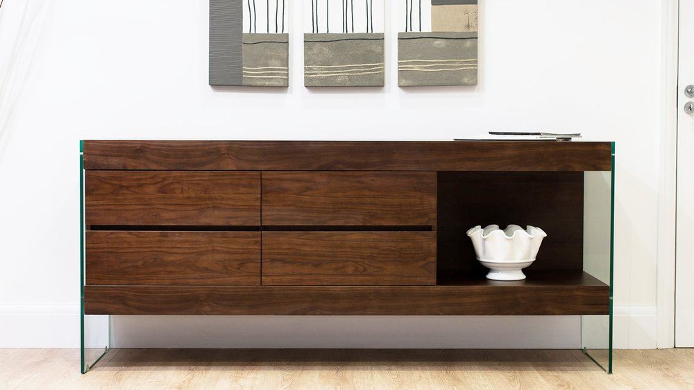 Dark Wood Sideboard with Glass Legs