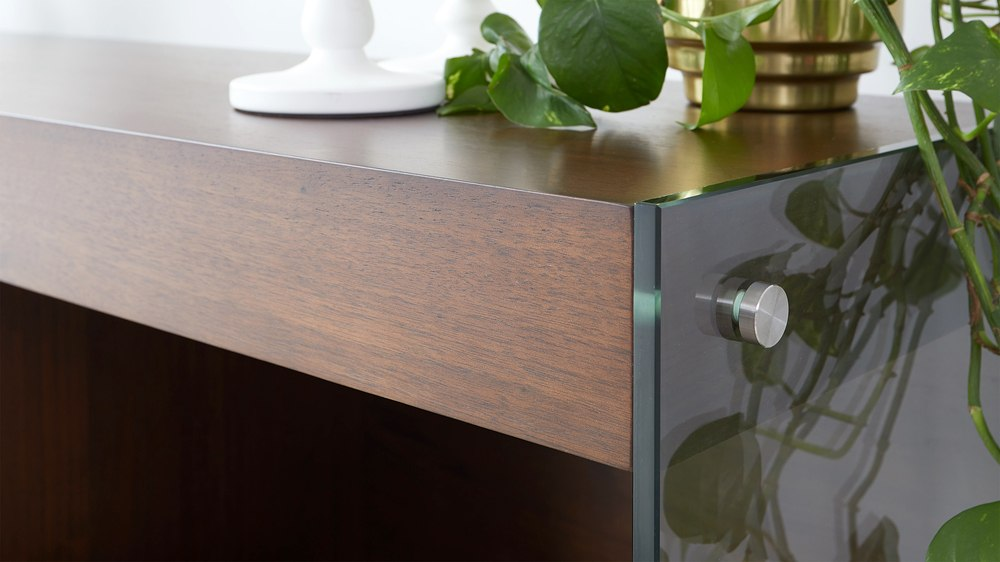 Wooden and glass sideboard