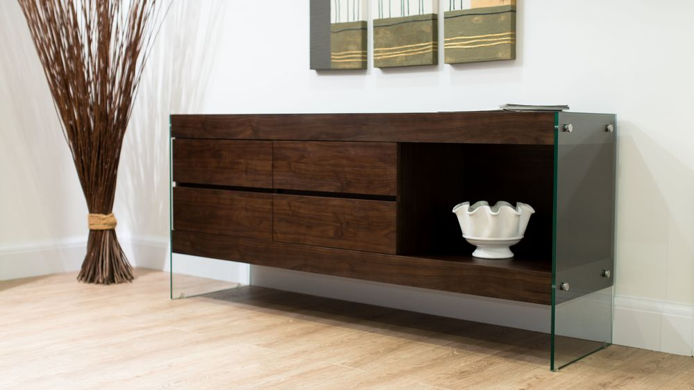 Large Dark Wood Veneer Sideboard with Glass Legs