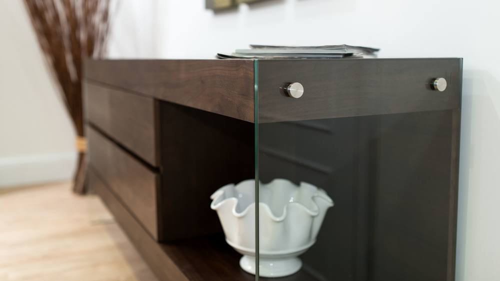Modern Dark Wood and Glass Sideboard