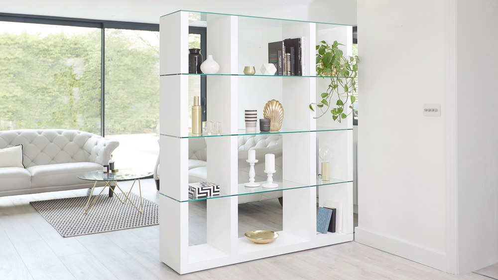 Modern white shelving unit