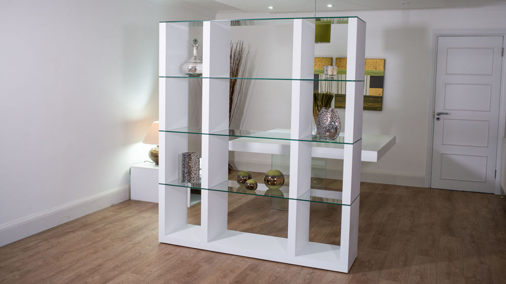 White Shelving Unit With Glass Shelves. White Wooden Room Divider