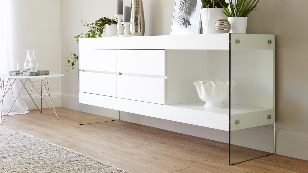White Oak Sideboard For Storage Funky Tempered Glass