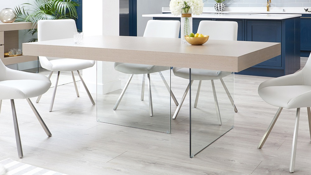 Large grey oak and glass dining table