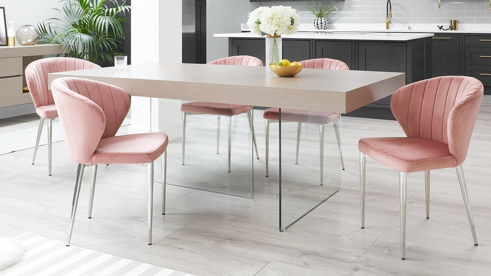 Aria Grey Oak And Glass Dining Table Danetti