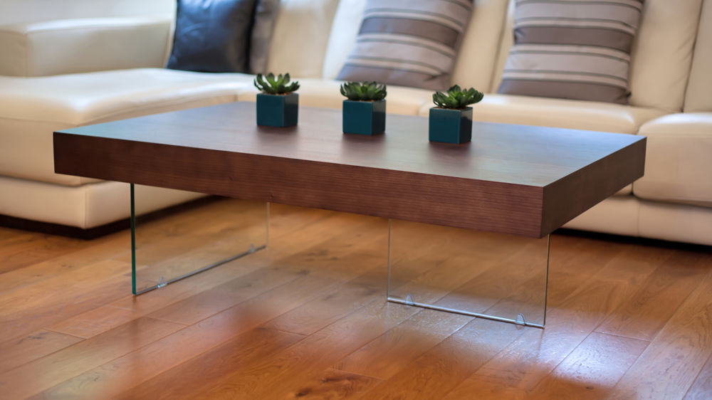 Large Dark Wood Coffee Table with Glass Legs