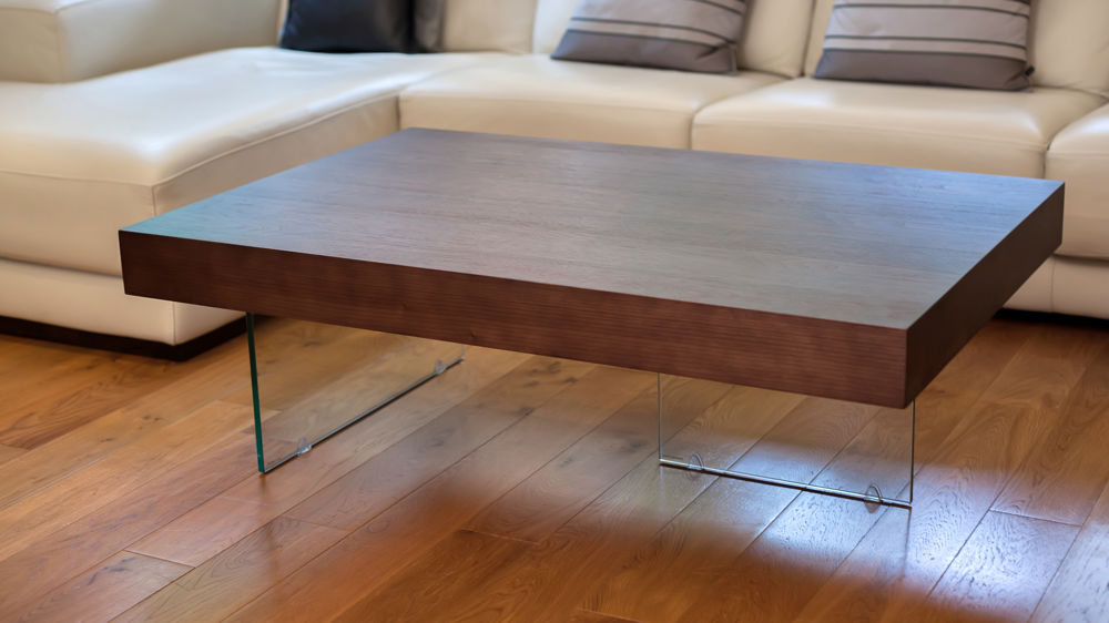 glass coffee table with dark wood veneer top