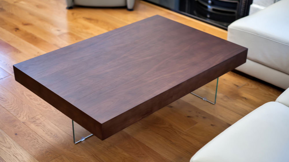 Large Modern Dark Wood Coffee Table Clear Glass Legs Uk