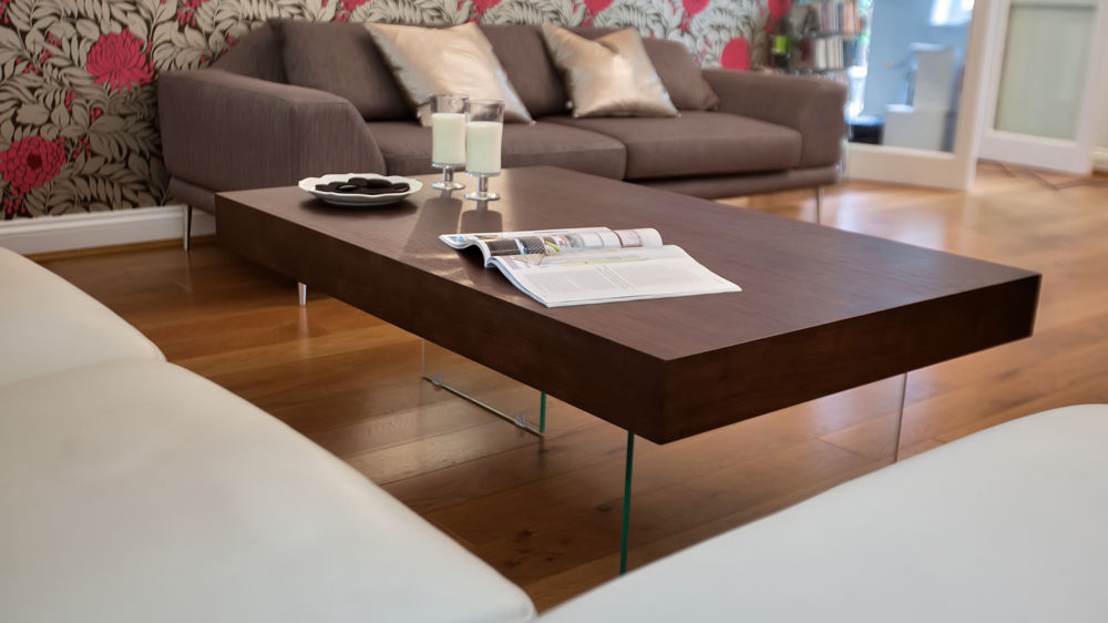 Stylish Dark Wood and Glass Coffee Table