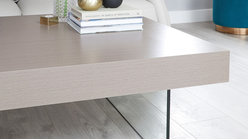 Grey oak and glass coffee table