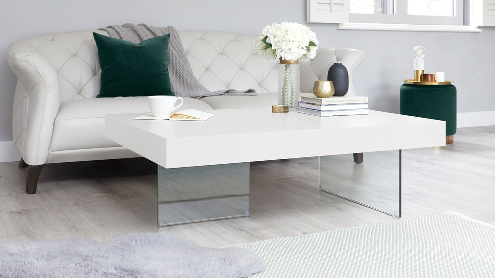 Large White Coffee Table with Glass Legs