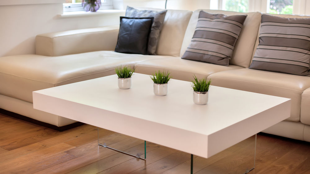 Large Modern White Oak Coffee Table Funky Tempered Clear Glass Legs