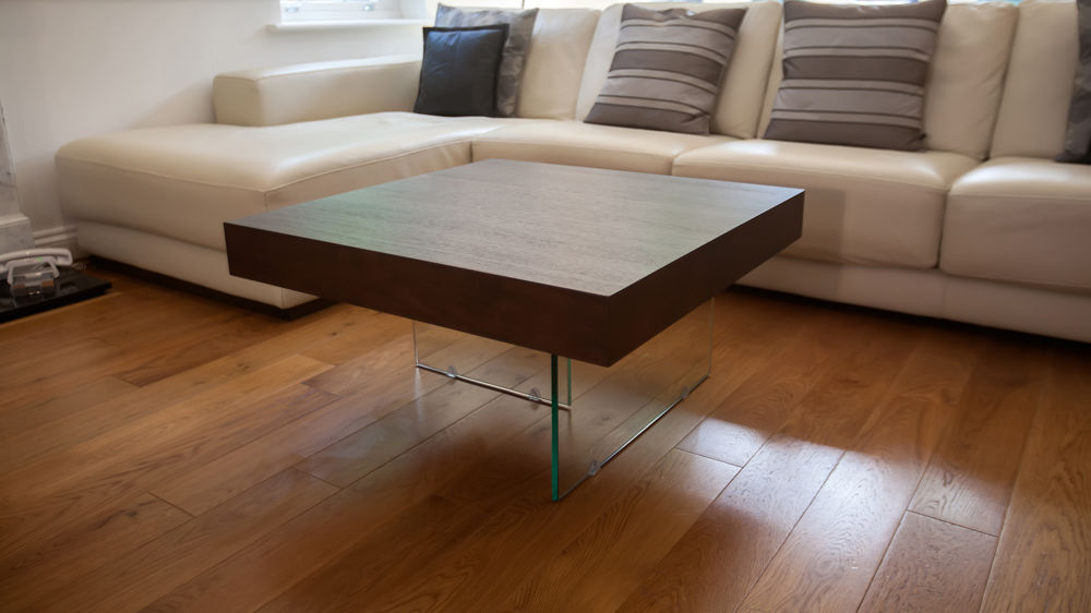 Square dark wood veneer coffee end table