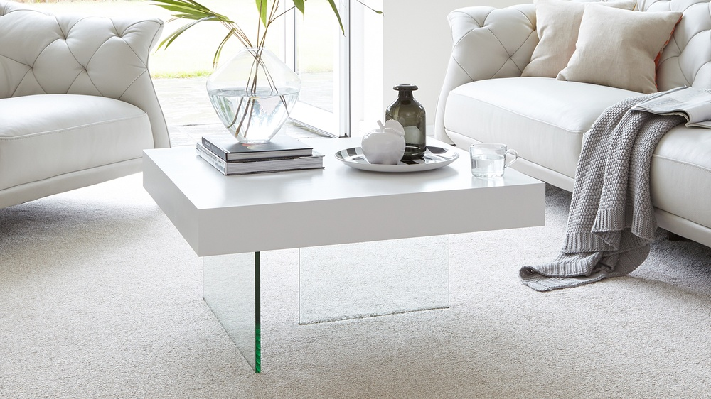 White oak and glass small square coffee table