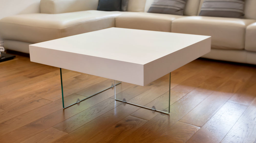 Modern White Wood and Glass Small Square Coffee Table