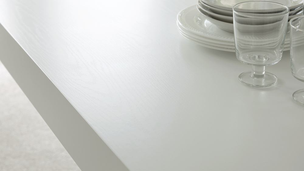 White Dining Table with Glass Legs