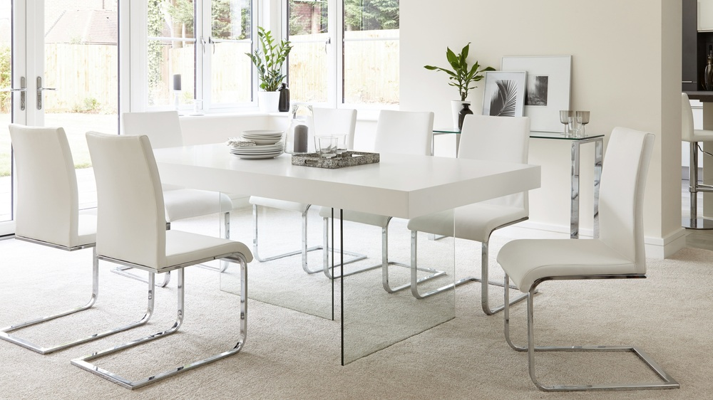 Modern White Oak Dining Table | Glass Legs | Seats 6 - 8