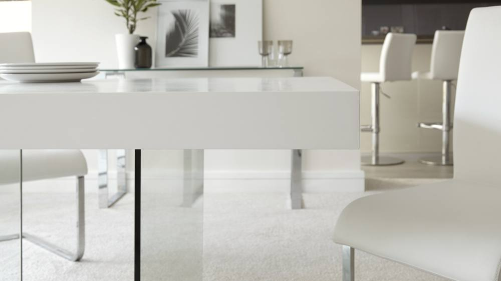 Six seater modern glass dining table