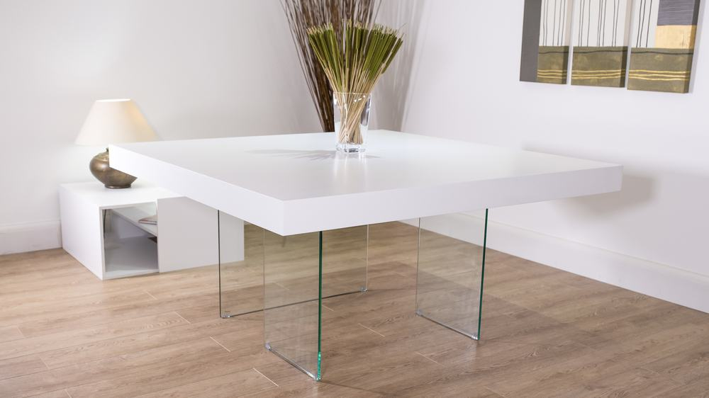Aria White Oak and Square Glass Dining Table | Danetti