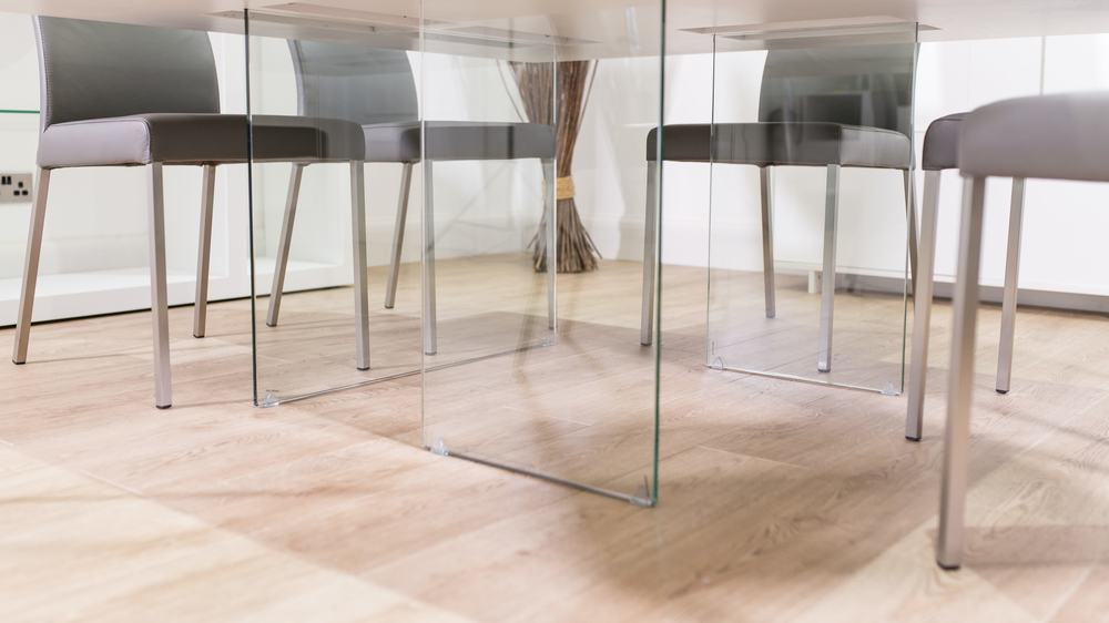 Contemporary Glass Legged Dining Table
