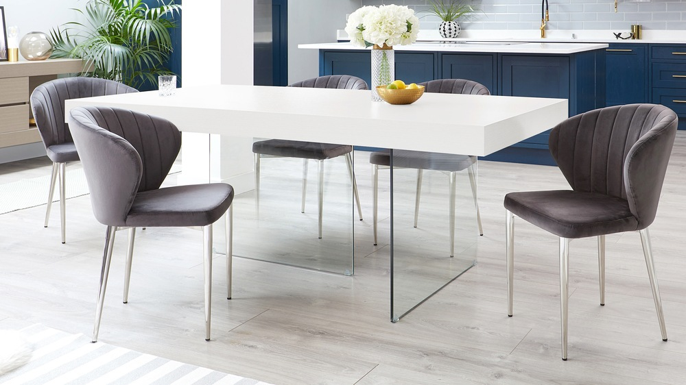 Aria White Oak and Harper Smoked Grey Velvet Dining Chairs