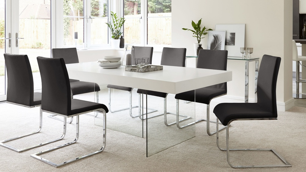 Black modern dining set white wood glass table