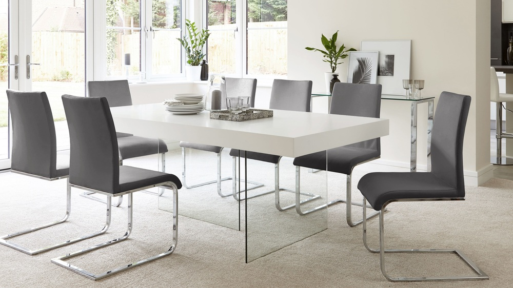 Uk delivery wooden and chrome dining set