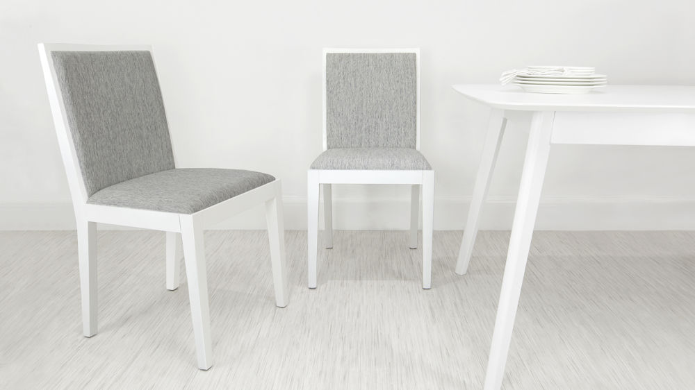 Modern White Oak Wooden Dining Chair Grey Fabric Seat Backrest