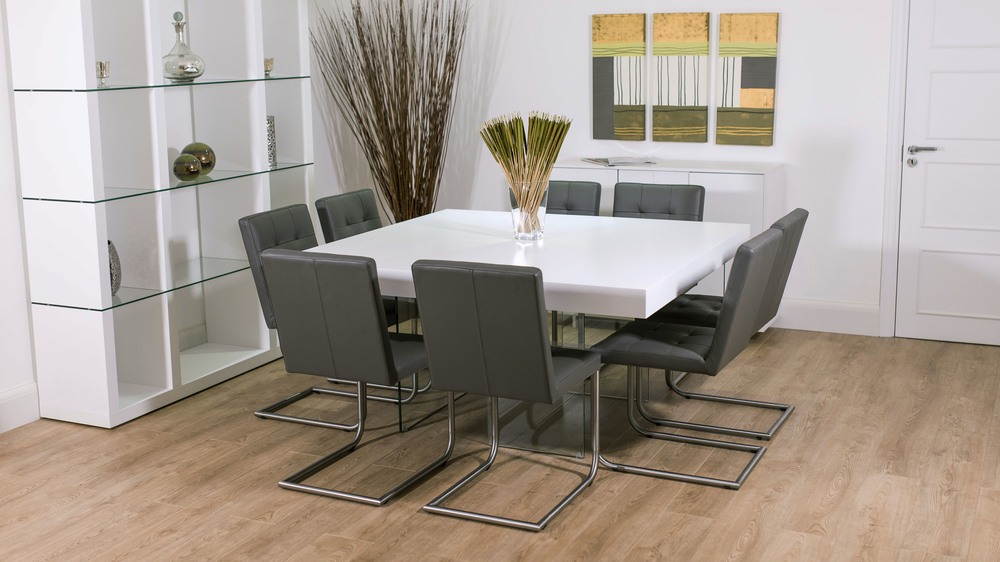 White Square Dining Table And Grey Chairs