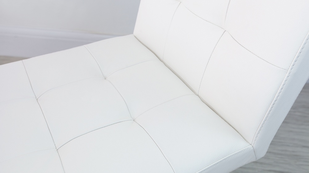 Quilted White Leather Dining Chairs