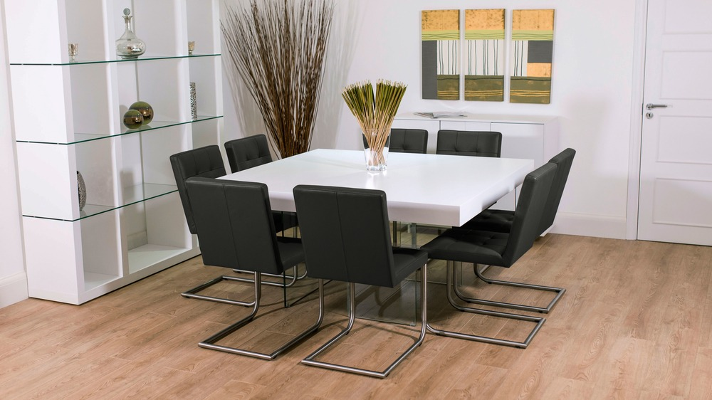 Large Square Dining Table with Black Dining Chairs