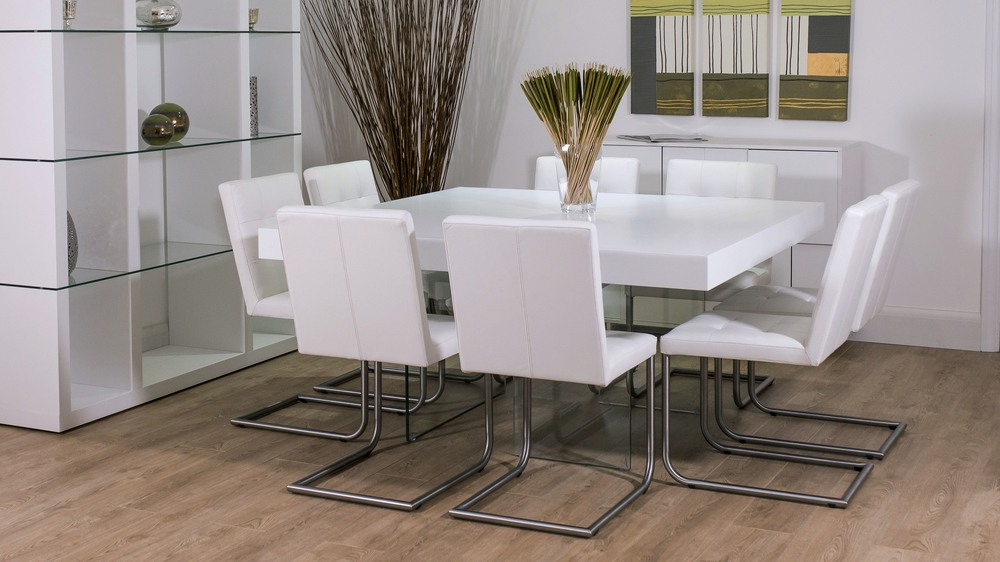 Large Glass and White Dining Table and Cantilever Dining Chairs