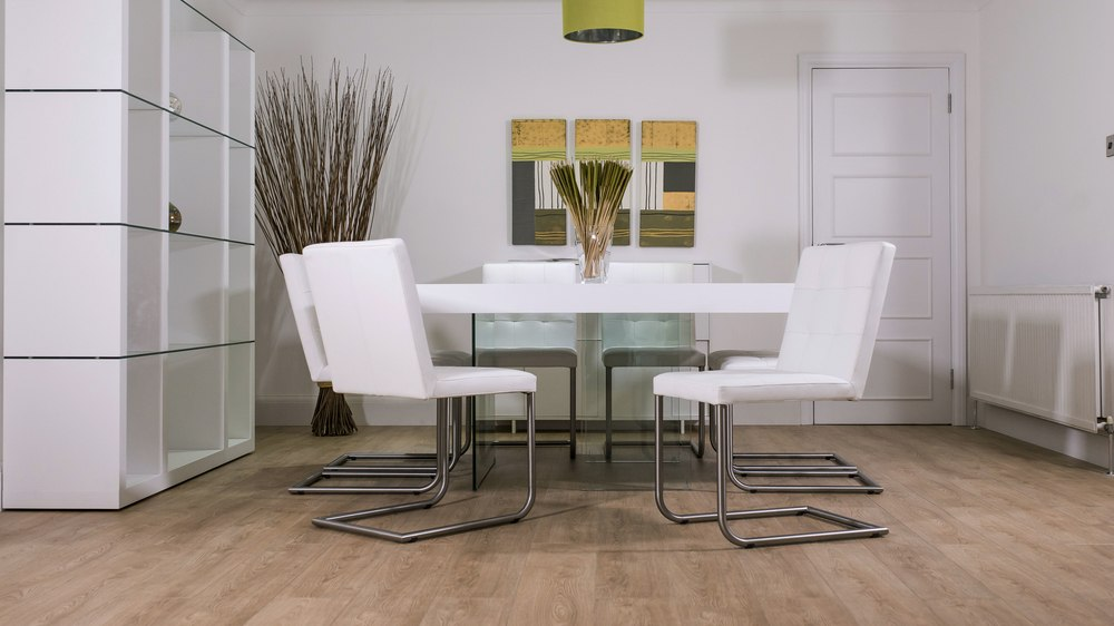 8 Seater White Dining Table and Real Leather Chairs