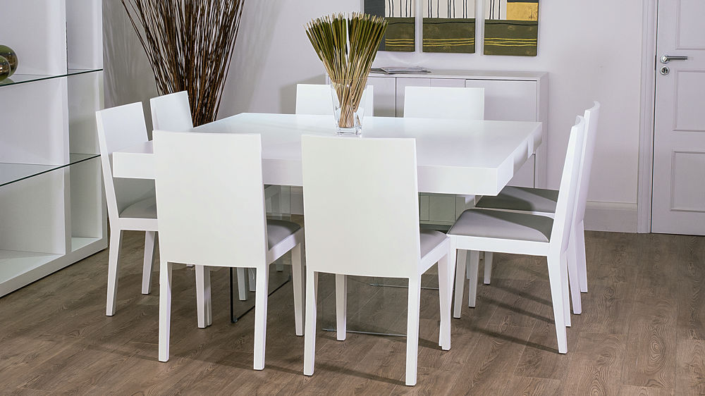921f8846fbbbb Large Square 8 Seater White and Glass Dining Set
