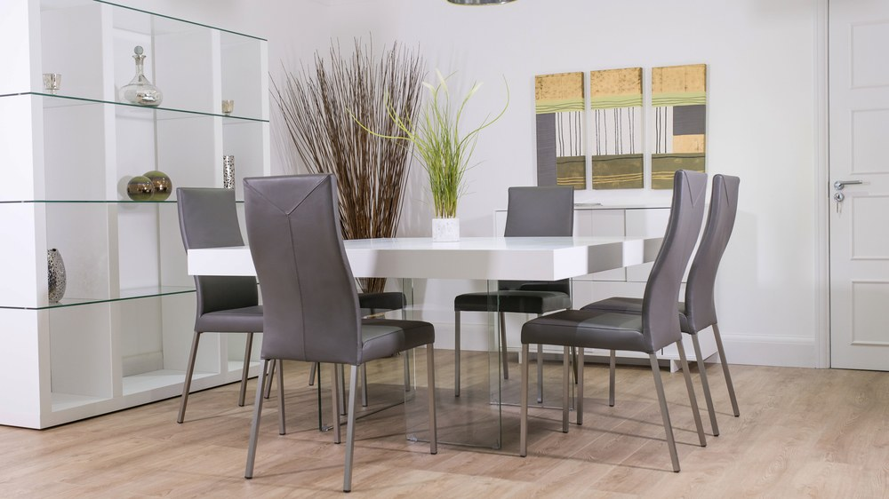 Large funky white oak square dining table and real leather dining chairs grey and white dining set watchthetrailerfo