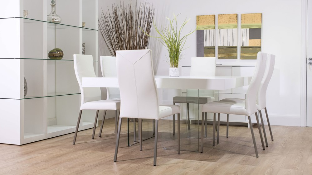 8 Seater Dining Table and White Real Leather Dining Chairs