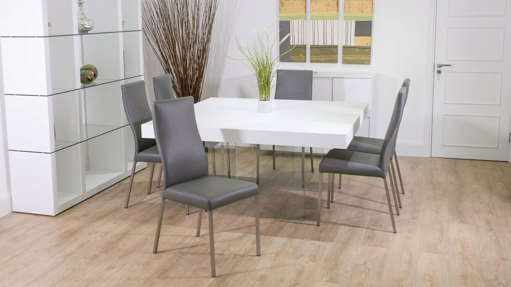 Large White Square Dining Table and Grey Dining Chairs
