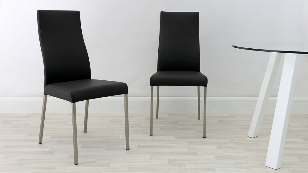 Black Genuine Leather Dining Chairs