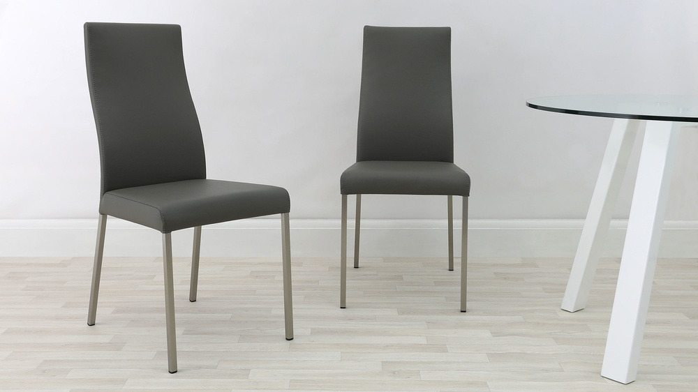 Grey Genuine Leather Dining Chairs