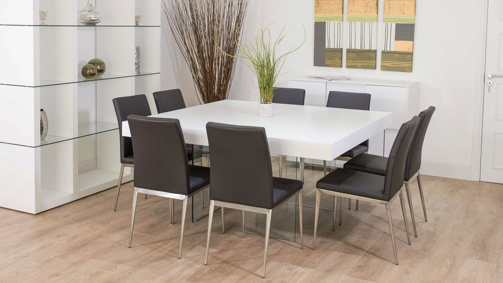 Large Square White Dining Table and Brown Dining Chairs