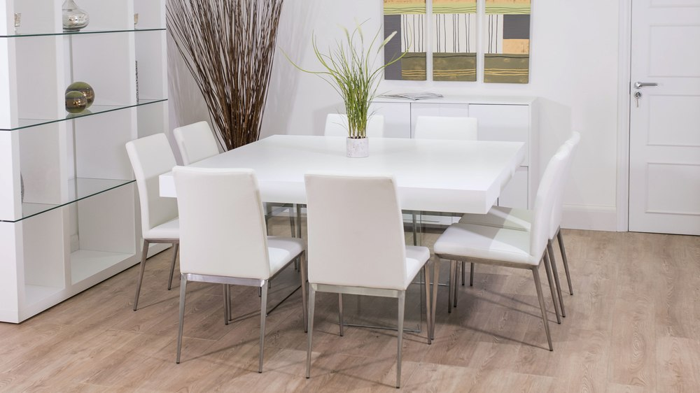White Square Dining Table For 8