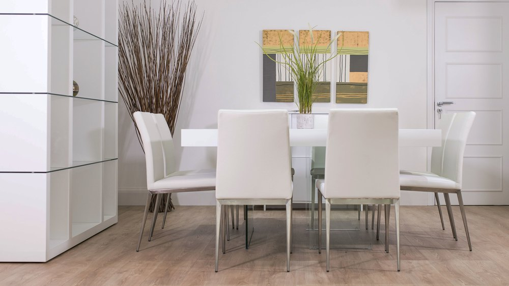 Large White Leather and White Oak Dining Table Set