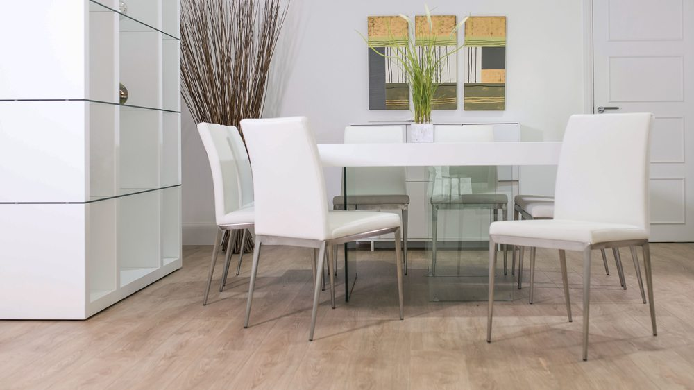 Contemporary Floating Dining Table and White Dining Chairs