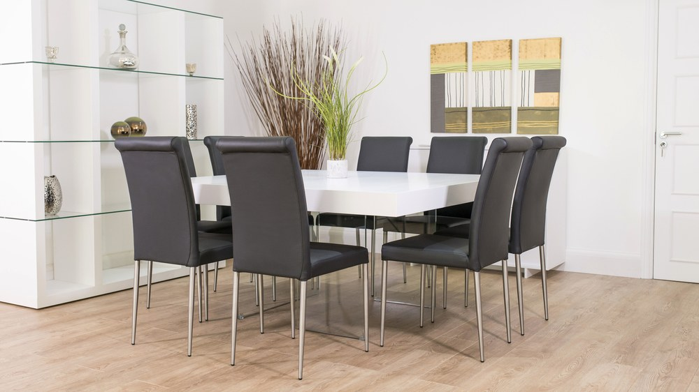 8 Seater Dining Table and Dark Leather Dining Chairs