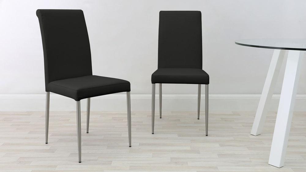 Dining Chairs with Brushed Metal Legs